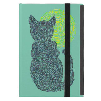 Black Cat And The Moon Cat Lover Feline Kitten iPad Mini Cover