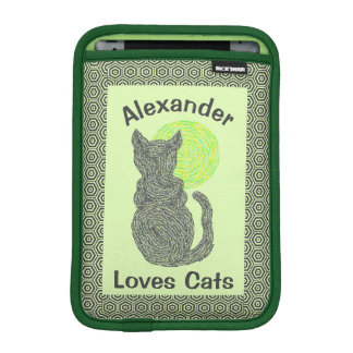 Black Cat And The Moon Cat Lover Feline Kitten iPad Mini Sleeves