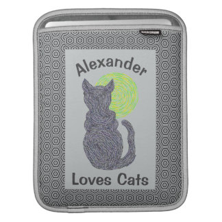 Black Cat And The Moon Cat Lover Feline Kitten Sleeve For iPads