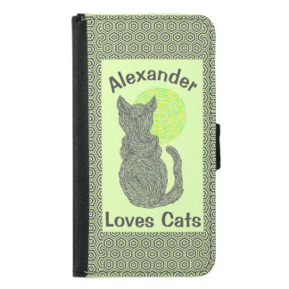 Black Cat And The Moon Cat Lover Feline Kitten Wallet Phone Case For Samsung Galaxy S5