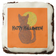 Black Cat And The Moon Cat Lover Happy Halloween Square Brownie