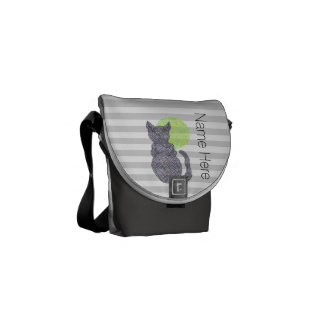 Black Cat And The Moon Cat Lover Personalized Courier Bag
