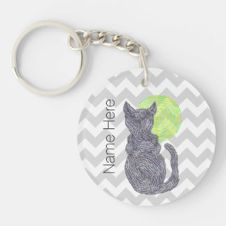 Black Cat And The Moon Cat Lover Personalized Keychain