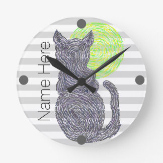 Black Cat And The Moon Cat Lover Personalized Round Clock