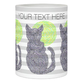 Black Cat And The Moon Cat Lover Stripes Pattern Flameless Candle