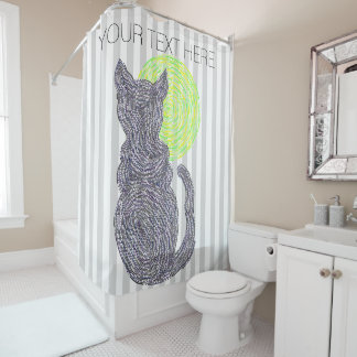 Black Cat And The Moon Cat Lover Stripes Pattern Shower Curtain