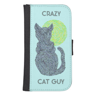 Black Cat And The Moon Crazy Cat Guy Fun Custom Phone Wallet Cases