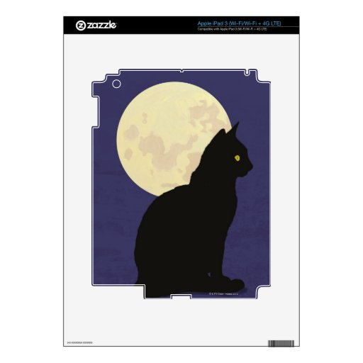 Black Cat and the Moon Decals For iPad 3