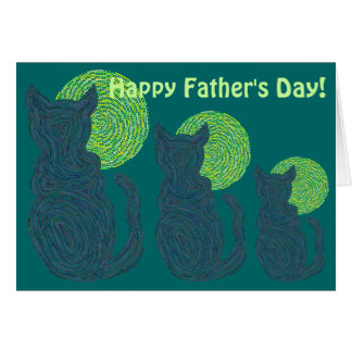 Black Cat And The Moon Father's Day Love The Cats Card