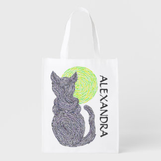 Black Cat And The Moon Personalized Eco Friendly Reusable Grocery Bag