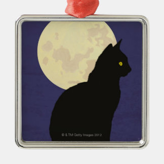 Black Cat and the Moon Square Metal Christmas Ornament