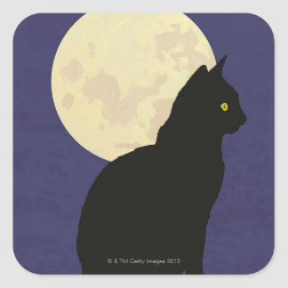 Black Cat and the Moon Square Sticker