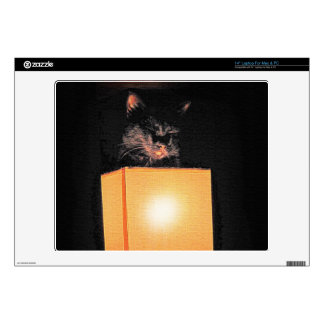 "Black Cat and Warm Lamp Portrait for Pet-lovers Decals For 14"" Laptops"