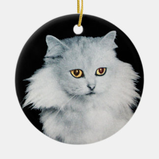 BLACK CAT AND WHITE CAT CERAMIC ORNAMENT