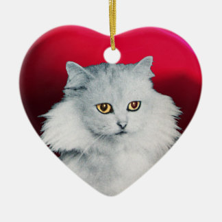 BLACK CAT AND WHITE CAT HEART CERAMIC ORNAMENT
