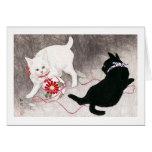 Black cat and White cat, Takahashi Shôtei Greeting Card