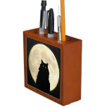 Black Cat and White Moon Pencil/Pen Holder