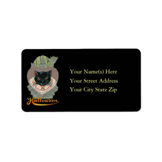 Black Cat and Witch Halloween Address Label