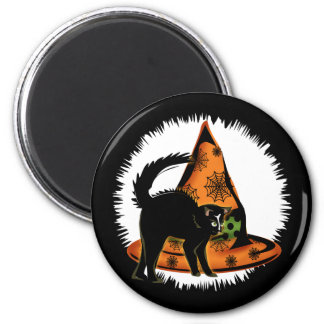 Black Cat and Witches Hat 2 Inch Round Magnet