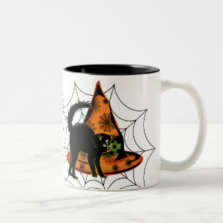 Black Cat and Witches Hat Two-Tone Coffee Mug