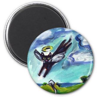 Black cat Angel Magnet