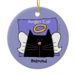 Black Cat Angel Personalize Ceramic Ornament