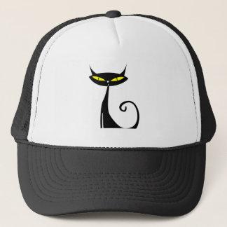 Black cat animated trucker hat