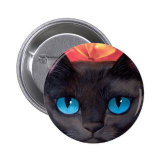 Black Cat Art  & Butterfly - Multi Button