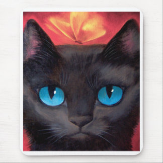 Black Cat Art  & Butterfly - Multi Mouse Pad