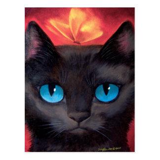 Black Cat Art  & Butterfly - Multi Post Cards
