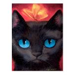 Black Cat Art  & Butterfly - Multi Postcard