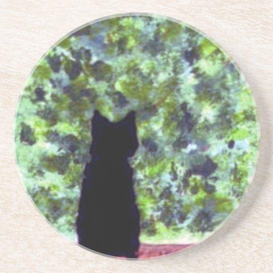 Black Cat Art Cat at the window Coaster