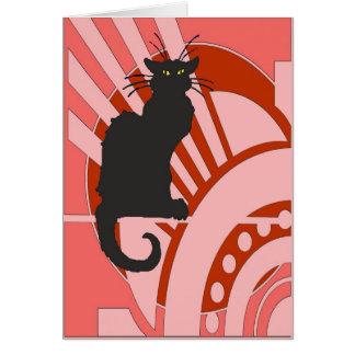 Black Cat Art Deco Greeting Cards