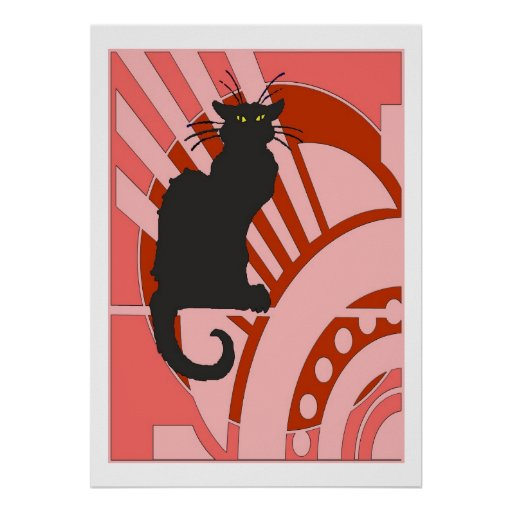 Black Cat Art Deco Print