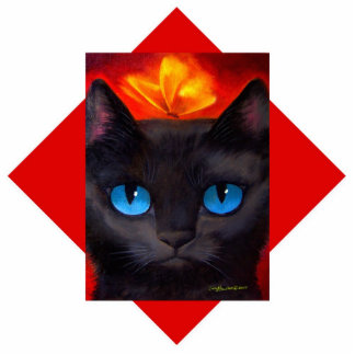 Black Cat Art Feline Photo Sculpture