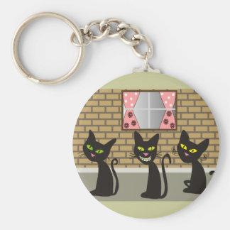 """Black Cat Art Gifts """"We Three Amigos"""" Basic Round Button Keychain"""