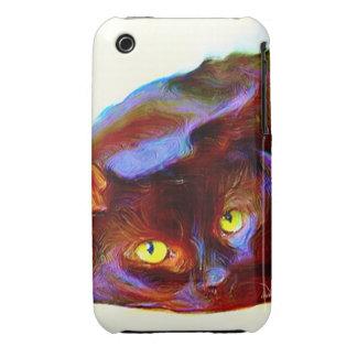 Black cat art iPhone 3 cover