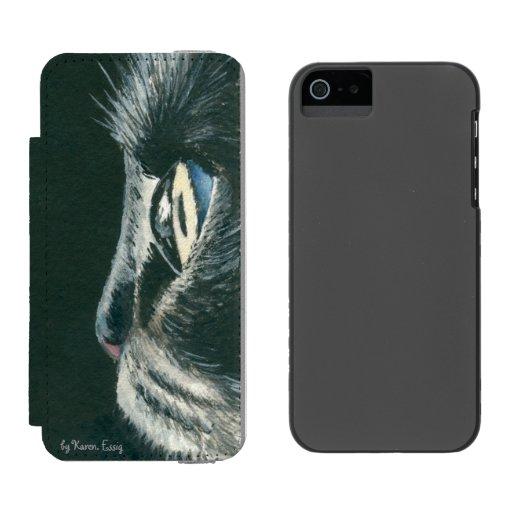 Black Cat Art iPhone SE 5/5s Wallet Case