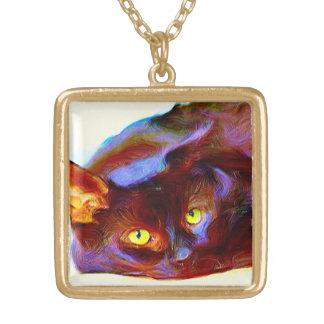 Black cat art necklace