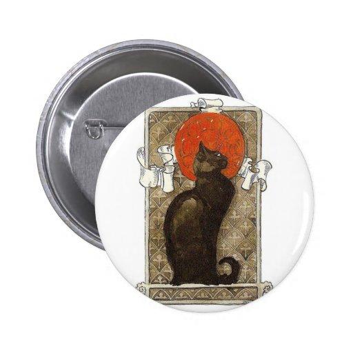 Black Cat - Art Nouveau - Theophile Steinlen Button