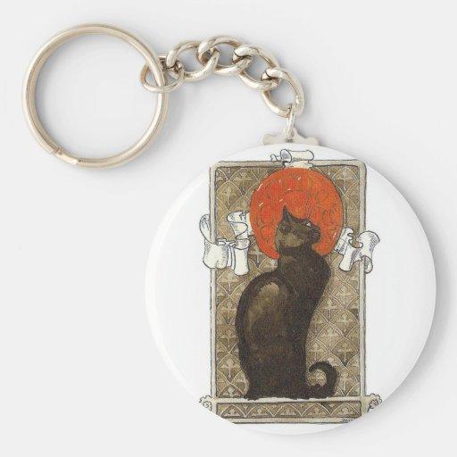 Black Cat - Art Nouveau - Theophile Steinlen Basic Round Button Keychain