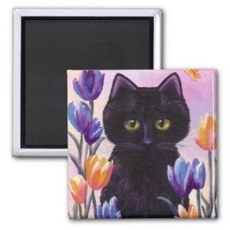 Black Cat Art Tulips Flowers Pink Creationarts Magnet