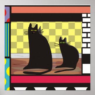 "Black Cat Art, ""Two Friends"" Poster print"