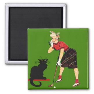 Black Cat At Golf Refrigerator Magnets