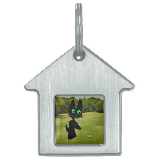 Black Cat At Golf Tee Pet ID Tag