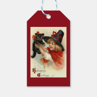 Black Cat at Halloween Vintage Greeting Gift Tags
