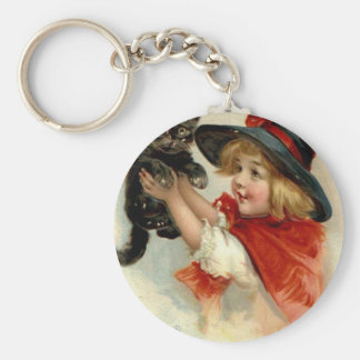 Black Cat at Halloween Vintage Greeting Keychain