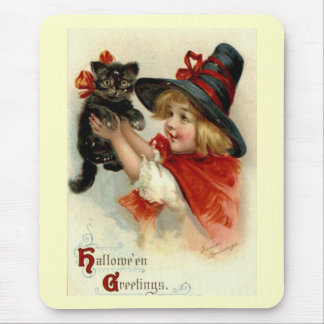 Black Cat at Halloween Vintage Greeting Mouse Pad
