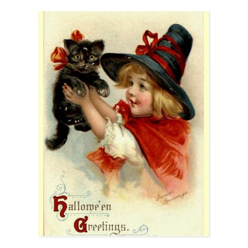 Black Cat at Halloween Vintage Greeting Postcards