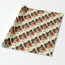 Black Cat at Halloween Vintage Greeting Wrapping Paper